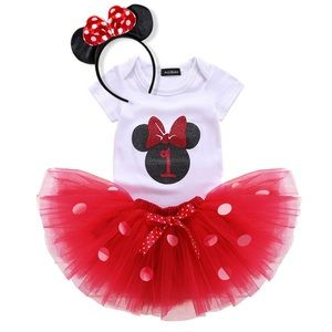 Minnie Mouse 1st Birthday Outfit with Tulle Skirt